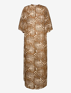 Organic cotton printed kaftan with gathering details - sommerkjoler - combo a