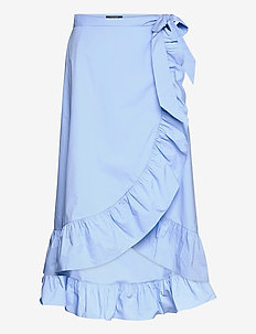 Clean crispy cotton wrapover skirt - midinederdele - sky blue