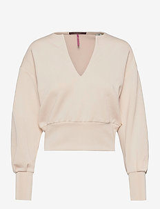Soft sweat with open neck and volumnious sleeves - crop tops - ecru