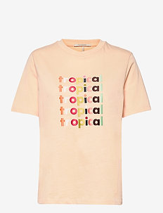 Boxy fit short sleeve tee with graphic - t-shirts - soft peach