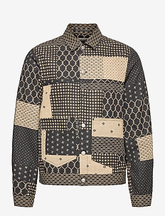 All-over printed cotton/linen-blend trucker jacket - windjassen - combo a