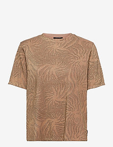 Relaxed fit lurex printed tee - t-shirts - combo a