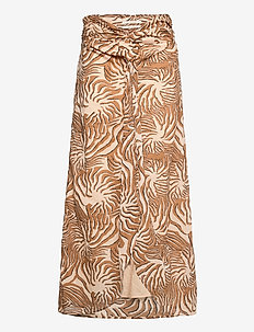 Organic cotton printed skirt with knot detail - midinederdele - combo a
