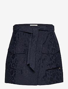 Wrap-over skirt in animal jacquard Tencel™ quality - korte nederdele - night
