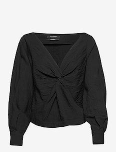 Knotted top with V-neck - langærmede bluser - black