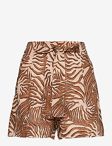 Printed linen shorts with belt - paper bag shorts - combo a