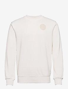 Organic cotton blend felpa crewneck sweat with logo print - truien - denim white