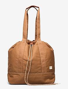Leather-trimmed canvas shopper with contrast topstitch - cabas - teak