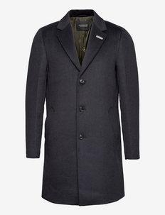 Single-breasted wool-blend overcoat - manteaux de laine - night