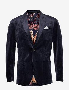 Soft single-breasted velvet blazer - blazers à boutonnage simple - deep purple