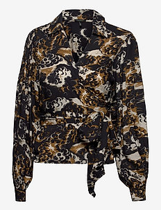 Printed wrap-over top - blouses à manches longues - combo a