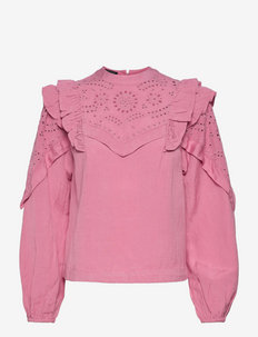 Embroidered voluminous sleeved top - blouses à manches longues - mauve
