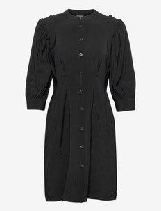 Printed fitted button-through dress - sommerkjoler - black