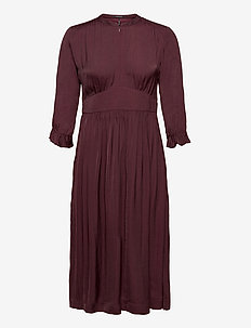 Midi length dress with fitted waist - cocktail dresses - wine