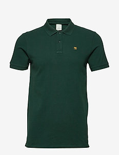NOS - Classic garment dyed pique polo - kortærmede - bottle green