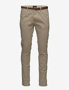 Slim fit cotton/elastan garment dyed chino pant - chino's - sand