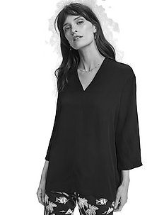 Viscose top with v-neck - langærmede bluser - black