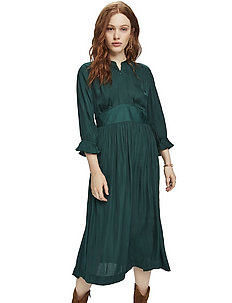 Midi length dress with fitted waist - midi kjoler - bottle green