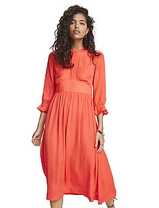 Midi length dress with fitted waist - midi kjoler - watermelon