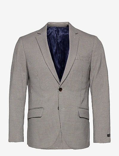 Classic single breasted blazer in yarn-dyed pattern - blazers à boutonnage simple - combo f