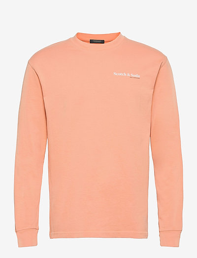 Organic cotton-jersey longsleeve tee with chest print - basic t-shirts - pink horizon