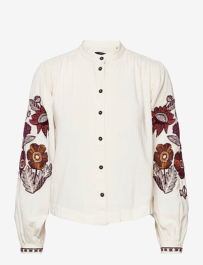 Embroidered top with voluminous sleeves - chemises à manches longues - white