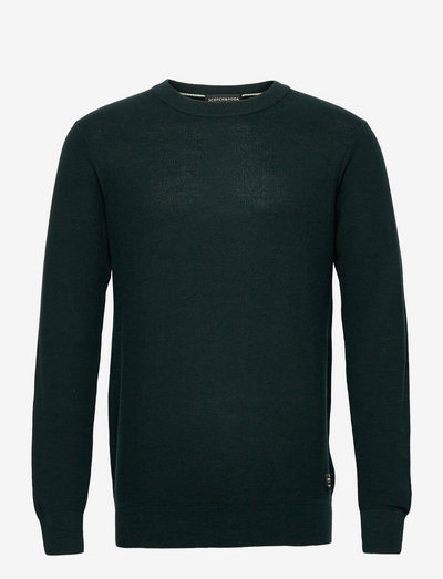 Organic cotton crewneck pull in structured knit - pulls col rond - sea green