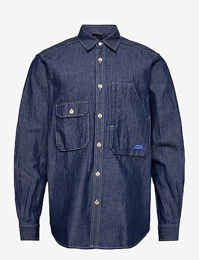 Ams Blauw  organic cotton and linen workwear overshirt - vêtements - indigo