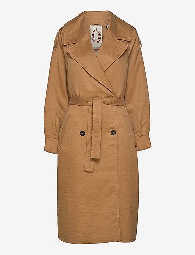 Longer length trench coat - trenchcoats - sand