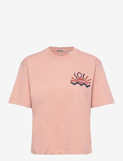 Tee with graphic in organic cotton - t-shirts - dusty rose
