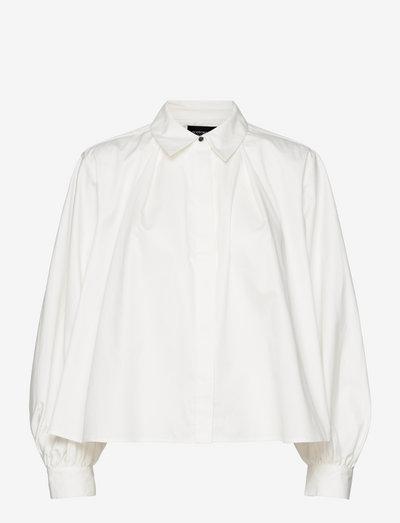 Pleated boxy fit shirt - jeanshemden - off white