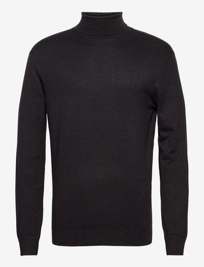 Melange turtleneck pullover - polokrage - black