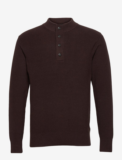 Buttoned mock neck - pulls demi-zip - aviator brown