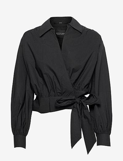 Organic cotton wrapover top - langermede bluser - black