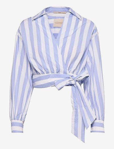 Organic cotton wrapover top - langermede bluser - combo s