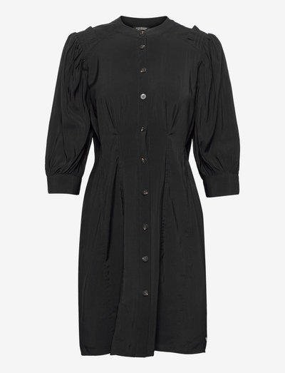 Printed fitted button-through dress - shirt dresses - black