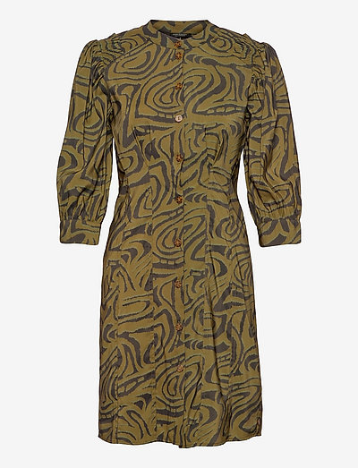 Printed fitted button-through dress - sommerkleider - combo j