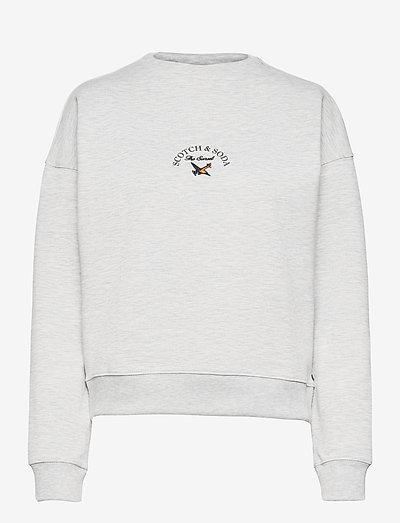 High neck sweat with graphic - sweatshirts - grey melange