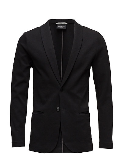 Ams Blauw bonded sweat blazer jacket - BLACK