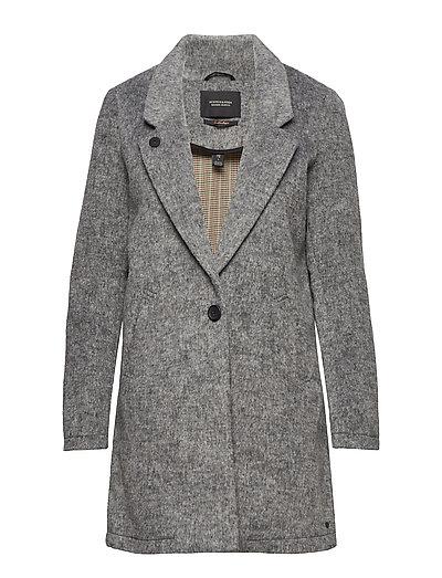 SCOTCH & SODA Bonded Wool Jacket In Checks And Solids Wollmantel Mantel Grau SCOTCH & SODA