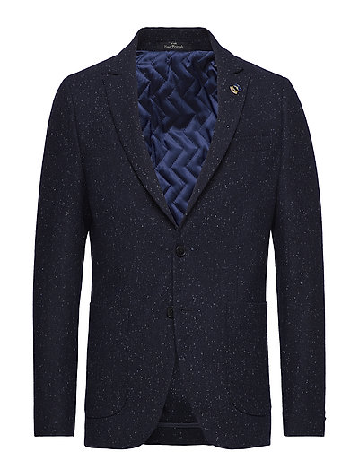 Half-lined blazer in wool blend quality with neps - COMBO B