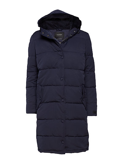 Quilted parka jacket with soft corduroy hood lining - NIGHT