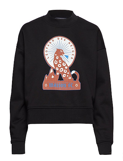 High neck boxy fit sweat with various artworks - BLACK