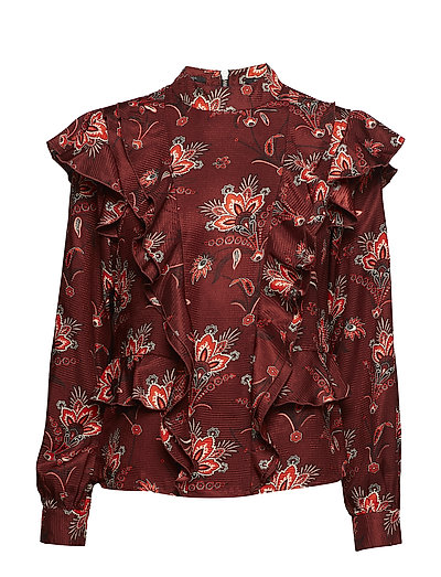 High Neck Printed Ruffle Top Bluse Langärmlig Rot SCOTCH & SODA