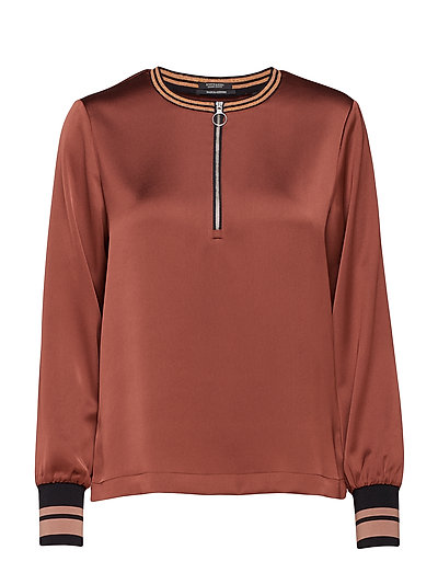 Sporty shiny top with zip and ribs - BRICK