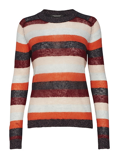 Knitted crew neck in colourful stripes - COMBO A