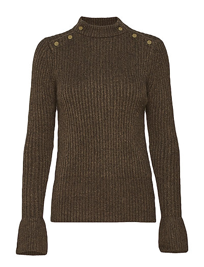 Cosy Pullover Knit With Tonal Press Buttons At Shoulders Strickpullover Braun SCOTCH & SODA