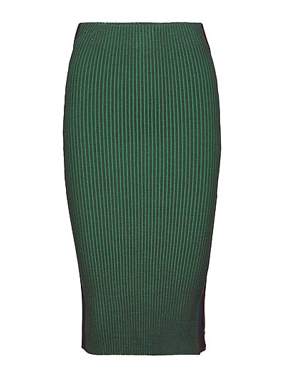 Knitted tube skirt with sporty side panel - OLIVE LEAF MELANGE