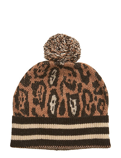 Knitted beanie in animal pattern with sporty rib - COMBO A