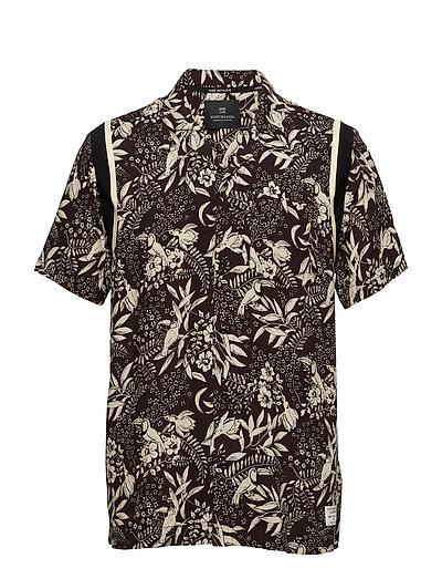 SCOTCH & SODA Hawaiian Fit- Shortsleeve Shirt With Knitted Tape Detail Kurzärmliges Hemd Schwarz SCOTCH & SODA